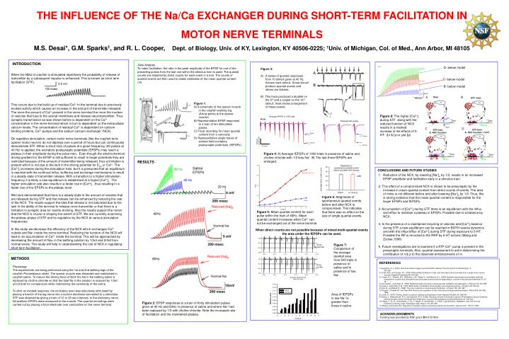 THE INFLUENCE OF THE Na/Ca EXCHANGER DURING SHORT-TERM FACILITATION IN