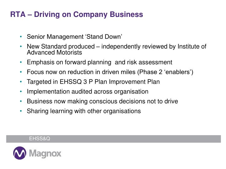 RTA – Driving on Company Business