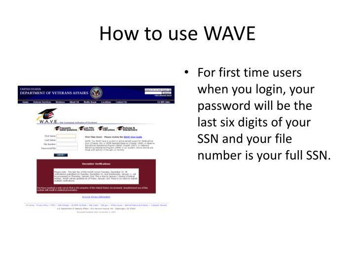 How to use WAVE