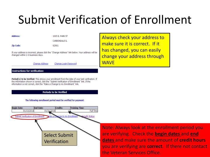 Submit Verification of Enrollment
