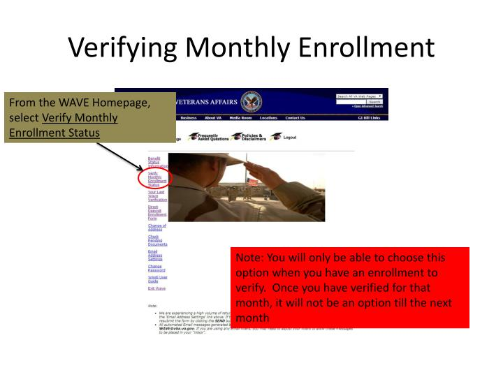 Verifying Monthly Enrollment