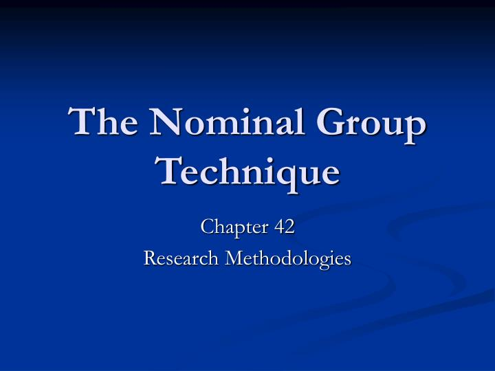 the nominal group technique n.