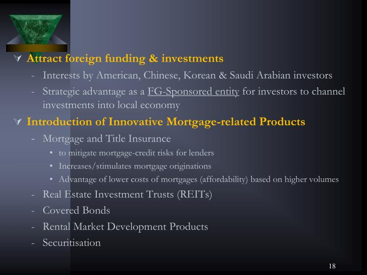 Attract foreign funding & investments
