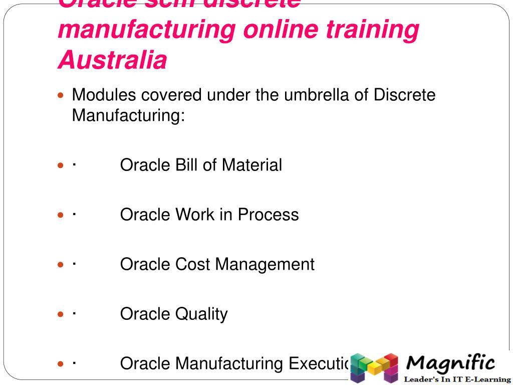 PPT - oracle scm discrete manufacturing online training