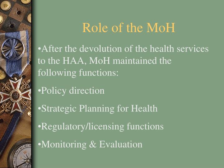 Role of the MoH
