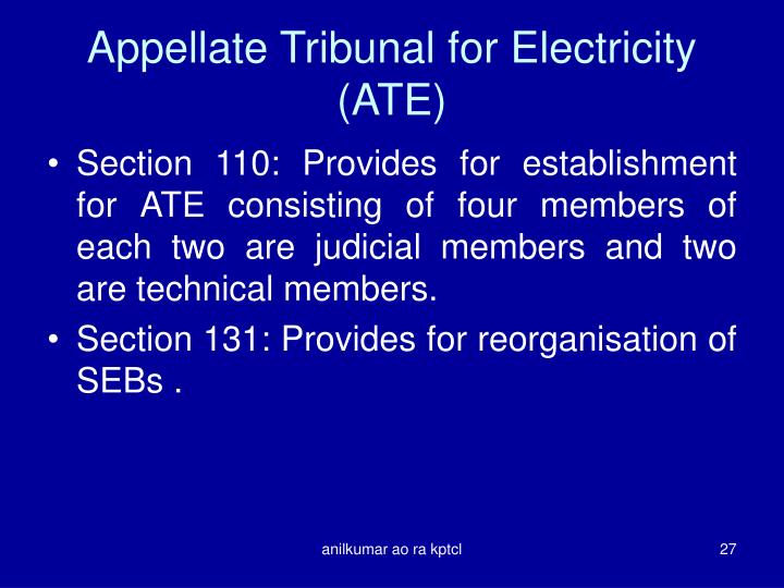 Appellate Tribunal for Electricity (ATE)