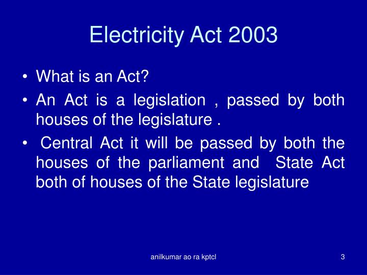 Electricity act 20031