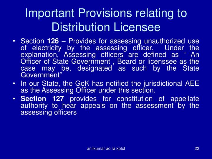 Important Provisions relating to Distribution Licensee
