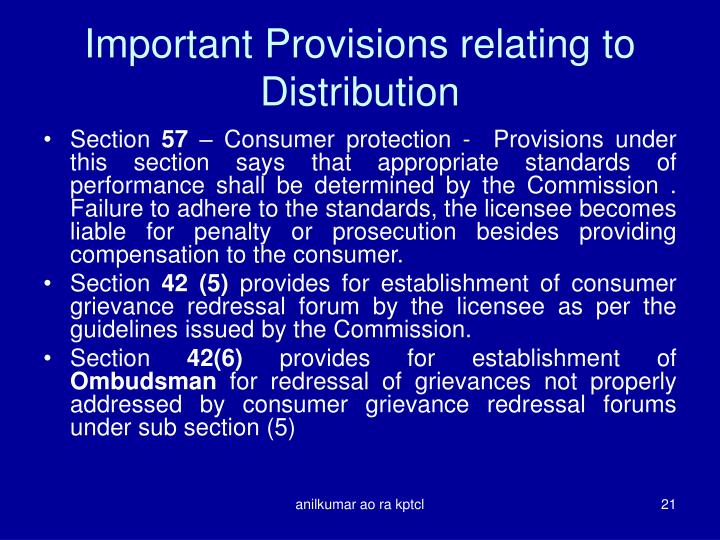 Important Provisions relating to Distribution