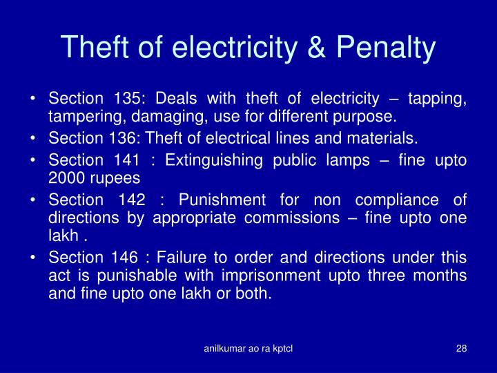 Theft of electricity & Penalty