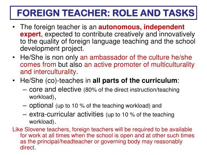 FOREIGN TEACHER: ROLE AND TASKS