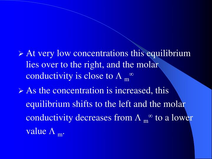 At very low concentrations this equilibrium lies over to the right, and the molar conductivity is close to