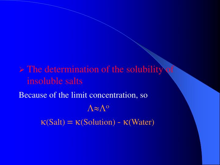 The determination of the solubility of insoluble salts