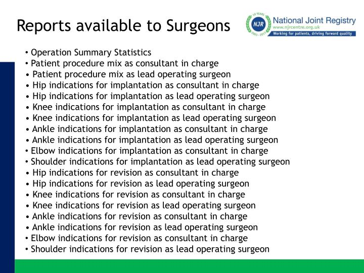 Reports available to Surgeons