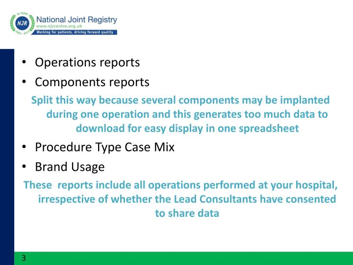 Operations reports