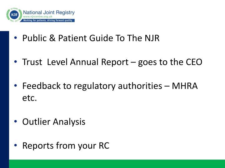 Public & Patient Guide To The NJR