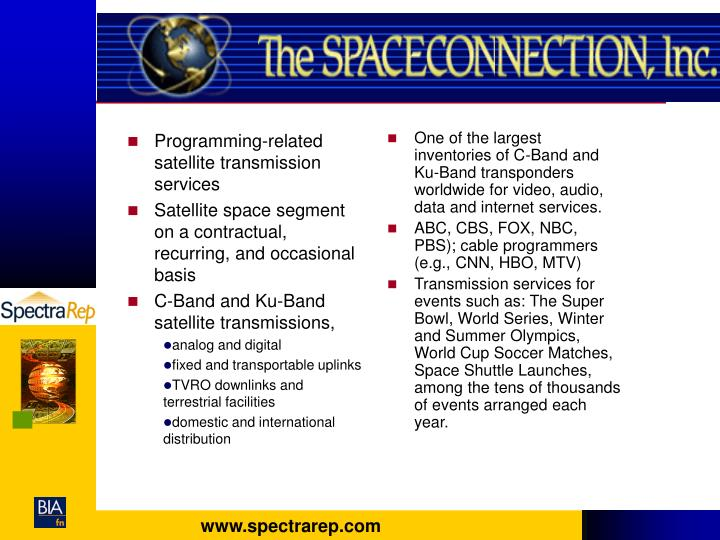 Programming-related satellite transmission services