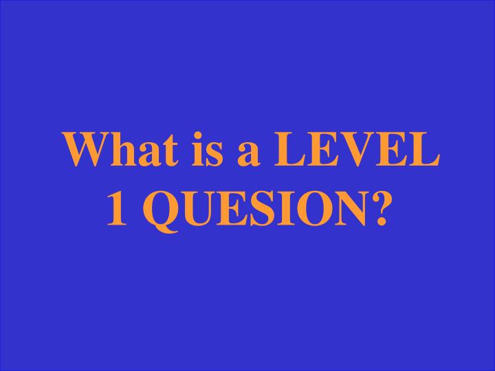 What is a LEVEL 1 QUESION?