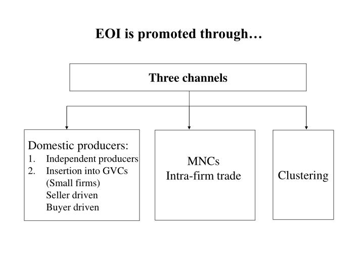 EOI is promoted through…