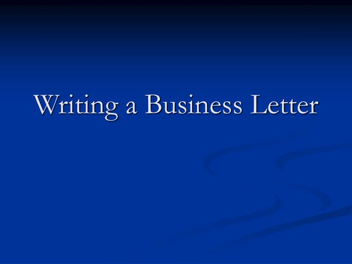 writing a business letter n.