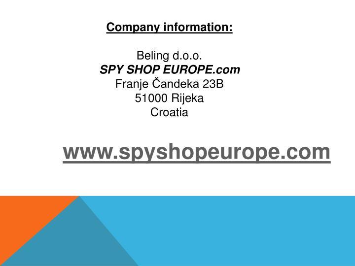 Company information: