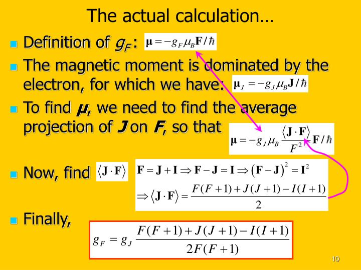 The actual calculation…