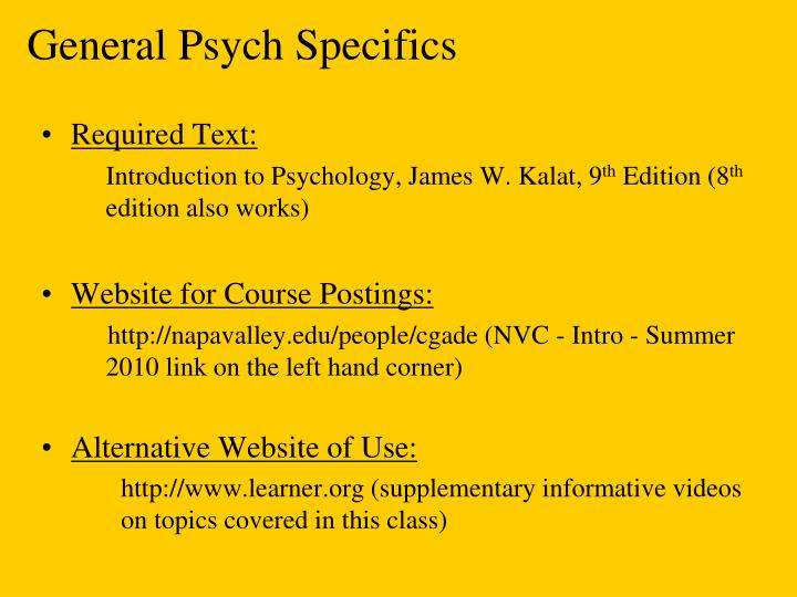 General psych specifics