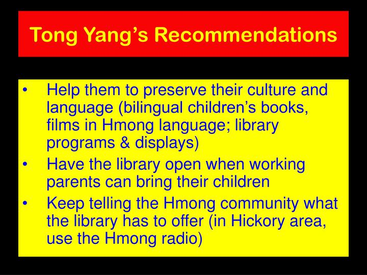 Tong Yang's Recommendations