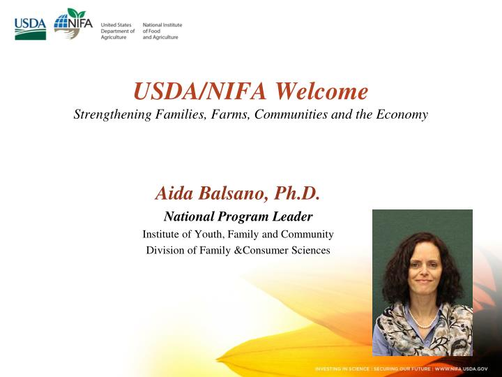 Usda nifa welcome strengthening families farms communities and the economy