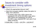 issues to consider with investment timing options