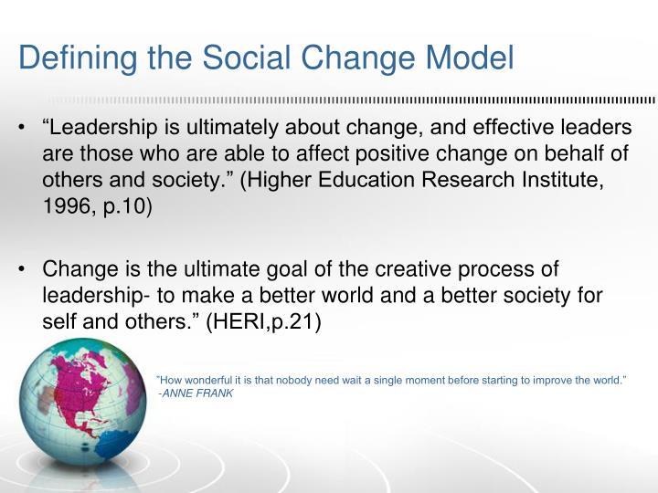 Defining the Social Change Model