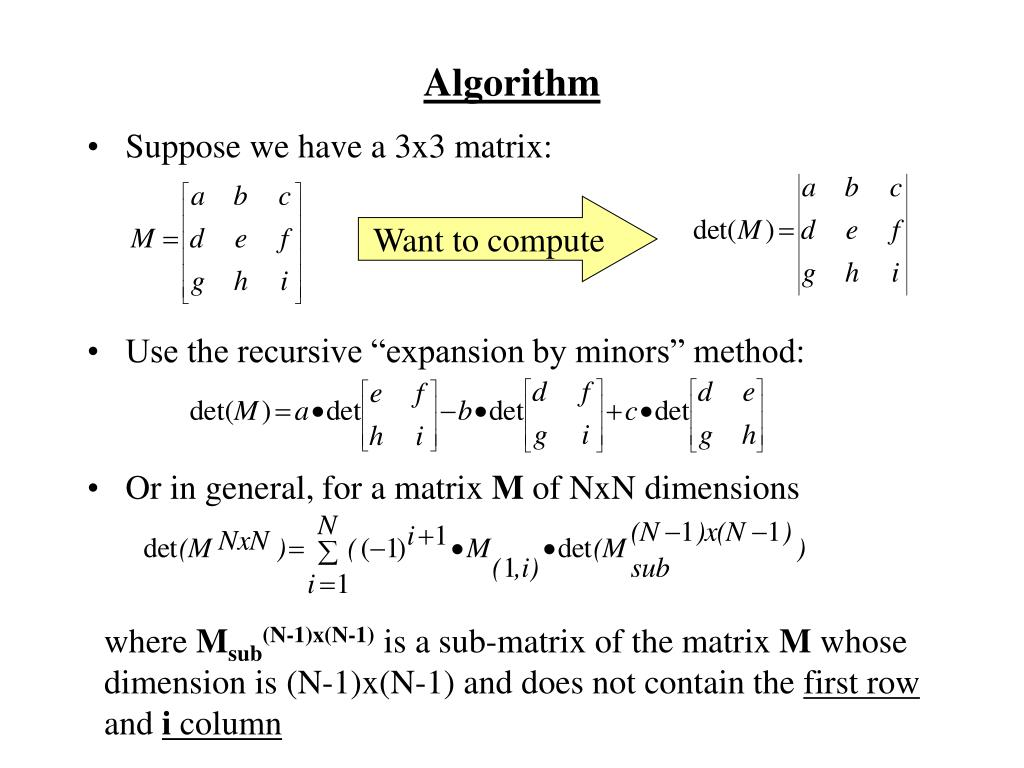 PPT - Determinant Calculation of a NxN Matrix Using AT&T Assembly