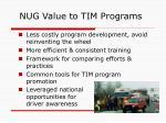 nug value to tim programs