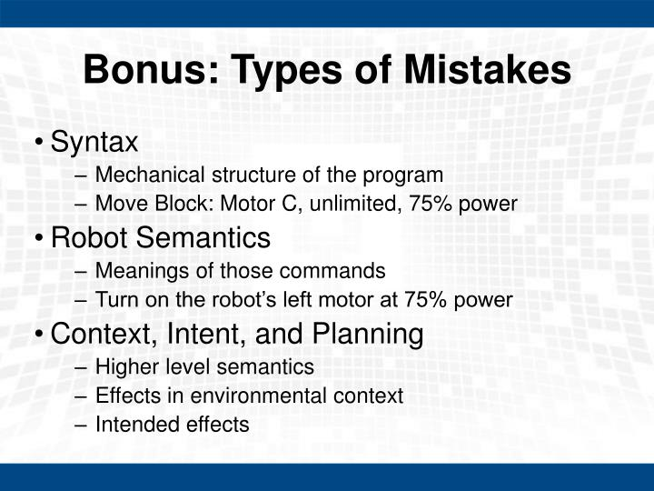 Bonus: Types of Mistakes
