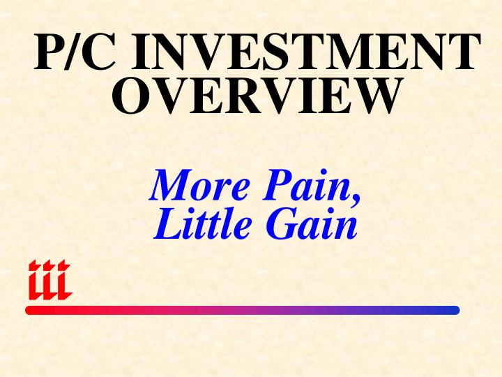 P/C INVESTMENT OVERVIEW