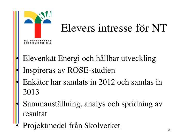 Elevers intresse för NT