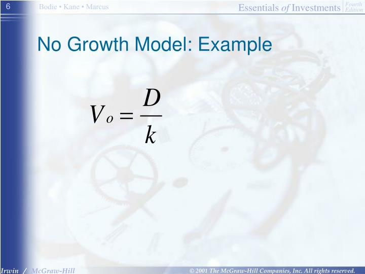 No Growth Model: Example
