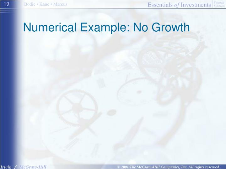 Numerical Example: No Growth