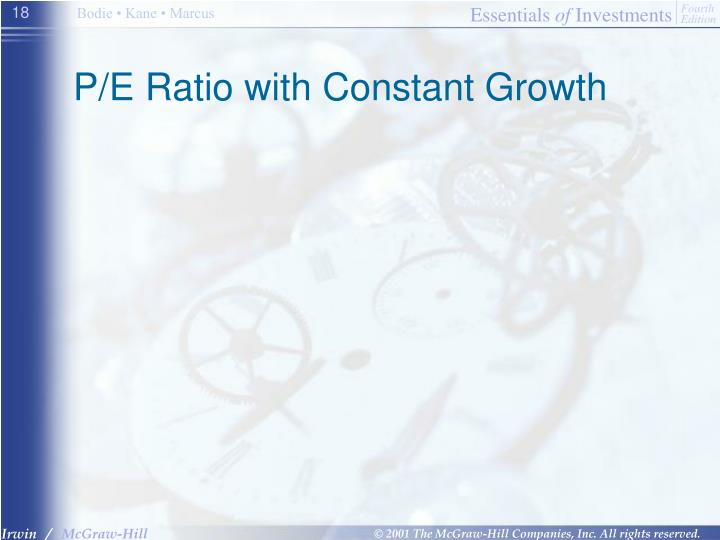 P/E Ratio with Constant Growth