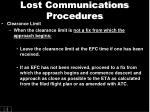 lost communications procedures