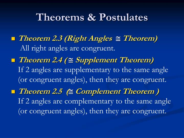 Theorems postulates
