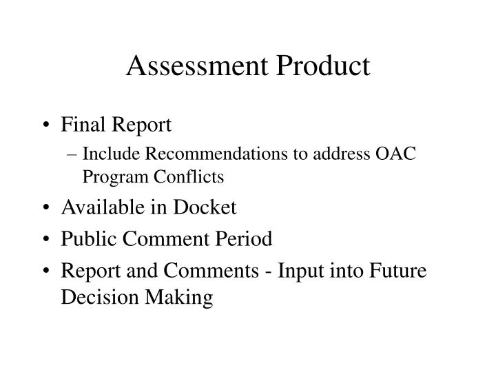 Assessment Product