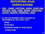 reporting aton verifications