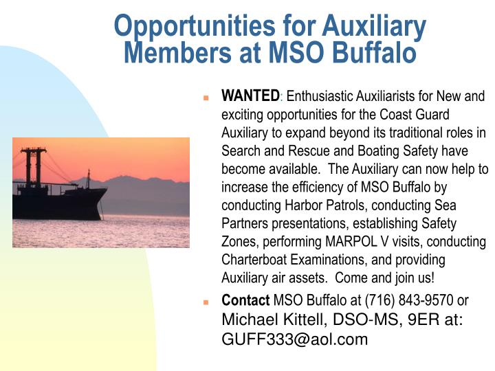 Opportunities for Auxiliary