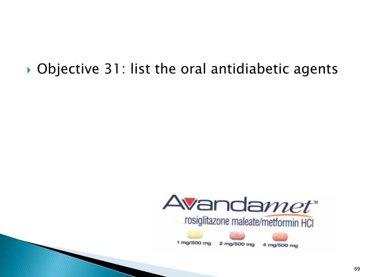Objective 31: list the oral antidiabetic agents