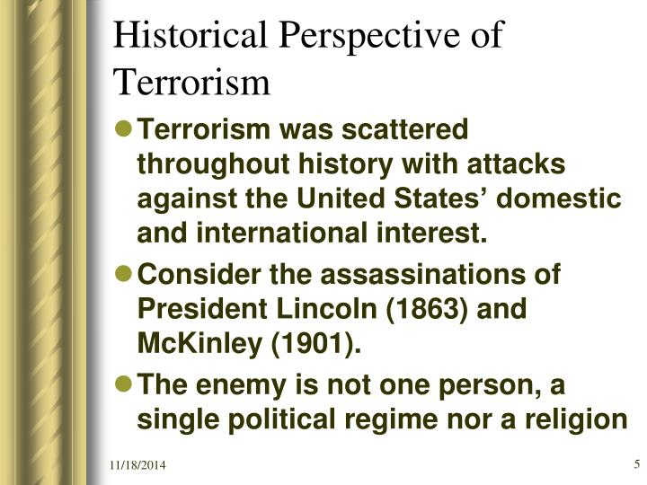 Historical Perspective of Terrorism
