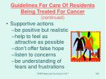guidelines for care of residents being treated for cancer continued3