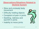 observations situations related to skeletal system