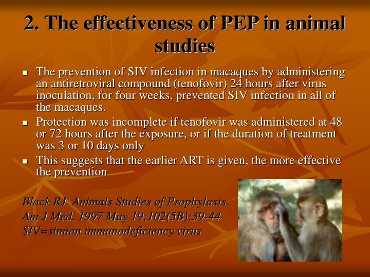 2. The effectiveness of PEP in animal studies