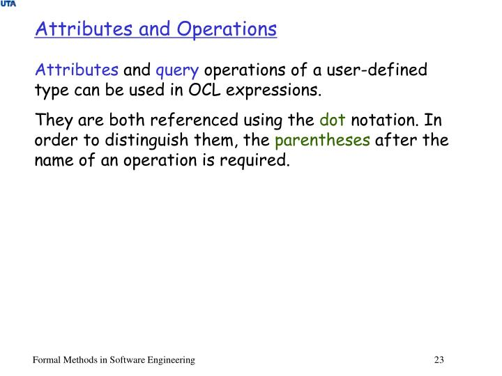 Attributes and Operations
